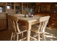 Farmhouse solid waxed pine wood 4 Seater table 4 Fiddle back Chairs