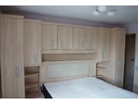 overbed cabinet and dressing table with separate mirror