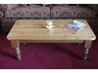 Large chunky solid waxed pine rustic farmhouse coffee table, occasional table.