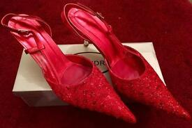 Size 9 Cherry Red Sparkly Pointed Ankle Strap shoes.