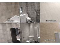 Cutline Effect PVC Wall Panels Beige and Grey Tile Effect Bathroom Wall Panels with Cut Grout Line