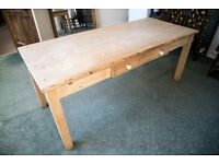 Large antique solid pine dining table