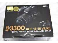 Unopened boxed brand new Nikon D3300 with AF-P 18-55 kit lens.Unwanted prize