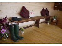 Antique rustic solid oak long bench dining seat.