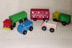 5 Models of Vintage ELC Wooden Vehicles, Bus, 2 Lorries, Police & Ambulance, Histon