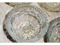 Set of 6 Vintage 1950s Glass Sundae/Trifle/Grapefruit Dishes, Square Base, (2 sets available),Histon
