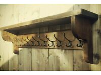 Extra Large Vintage Style Coat Hook Rack With Shelf ( NEW - 2 available )