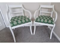 2 upcycled armchairs - white/green/wooden/designer/deco patterned
