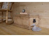 Antique Beautiful rustic antique solid raw pine old chest, trunk storage box