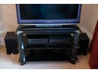 Black glass TV stand / media unit