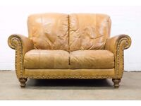 SUPERB DISTRESSED TAN / CLUB LEATHER HIGH BACK TWO SEATER SOFA