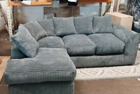 BRAND NEW LEFT HAND GREY JUMBO CORD CORNER SOFA INCLUDES FREE DELIVERY.ONLY £269.99 !!