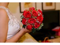 "Wedding Flowers Round Roses Bouquets Wedding Satin Cotton Red 9.84""(Approx.25cm)"