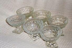 Set of 6 1950s Glass Sundae/Trifle/Grapefruit Dishes, Square Base, (2 sets available), Histon