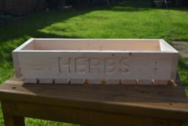 Handmade Wooden Herb Box Planter