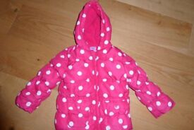 Pink and White Spot Girls Coat Age 18-24 months
