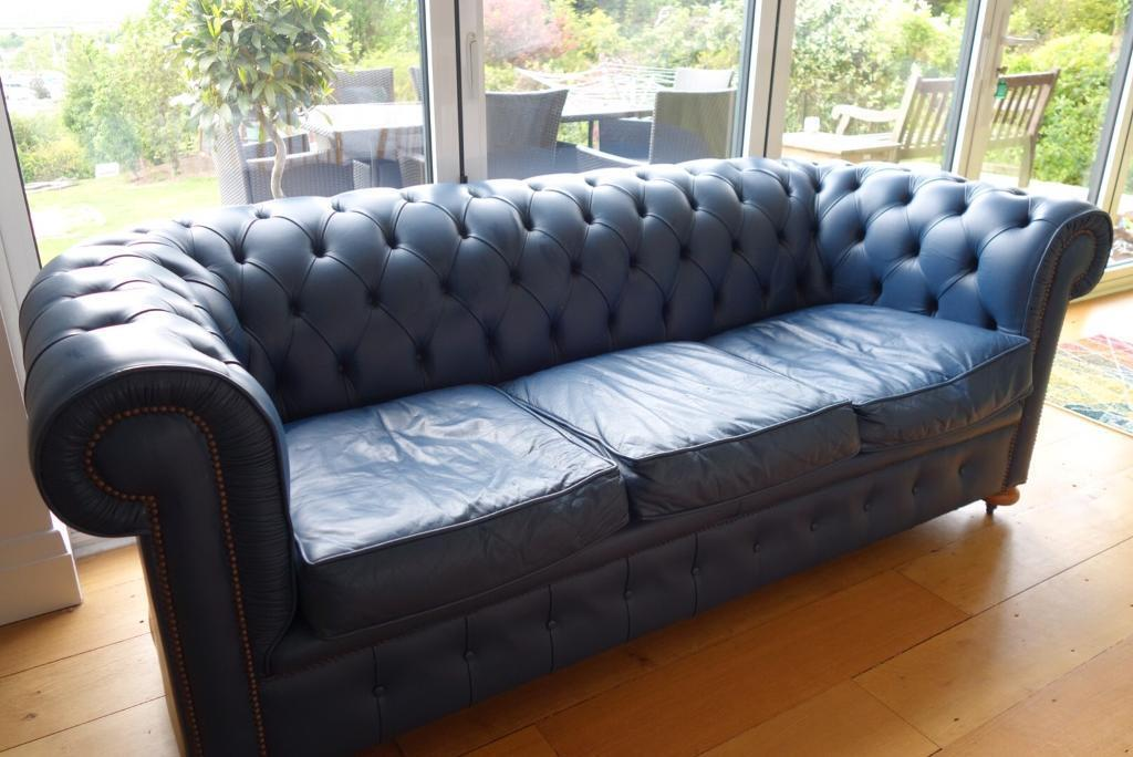 Petrol Blue Chesterfield Style 3 Seater Leather Sofa Very Good