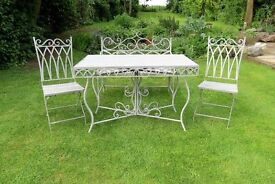 Vintage Shabby Chic Metal Garden Table, Bench and Two Chairs