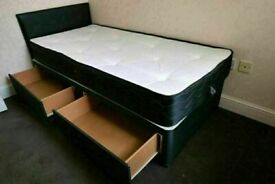 AESTHETIC DESIGN (3ft) Single Size Divan Bed Base With Opt Mattress- Order Now