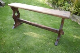 Antique Gothic Arts & Crafts High Bench Or Organ Seat Pitch Pine Traditionally Made (Rare)
