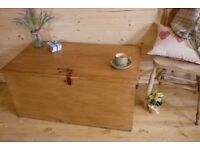 Old Solid waxed pine wood chest wooden trunk ottoman storage box coffee table..