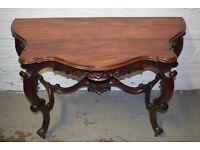 MAHOGANY SERPENTINE CONSOLE TABLE, RAISED ON BOLDLY CARVED CABRIOLE SUPPORTS (DELIVERY AVAILABLE)
