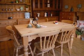 Farmhouse Solid waxed pine rustic 6 seater table,antique church pew and 4 chairs