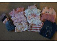 18x piece girls 3-6 month tops and bottoms clothing bundle