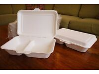 250 X NEW BIODEGRADEABLE TAKE AWAY HOT FOOD CONTAINERS - STREET FOOD RETAILERS/MARKET STALLS/EVENTS