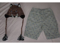 Knitwits animal hat and Uni Qlo shorts (All NEW)