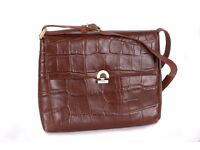 Small Picard Handbag in rich chocolate leather with alligator print. Fully lined, perfect condition
