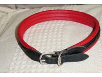 Red and Black Padded LEATHER Dog Collar for Large Dog, neck size 19 - 21 inches, Histon