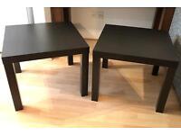 2 x Black Brown Ikea Lack Side Tables - Wood Effect
