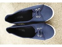 Navy canvas wedges