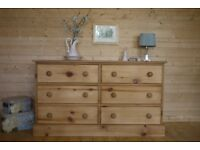 Rustic solid waxed pine large chest drawers multi drawers apothecary merchants