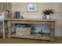 Rustic farmhouse solid raw pine wood coffee table with shelf, media unit.