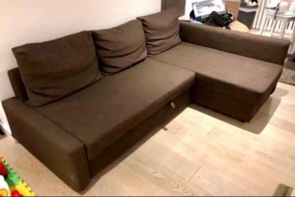 Corner Sofa Bed Brown Colour With Storage Ikea Farihiten Good