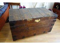 """Antique Vintage """"William Whiteley Ltd"""" Pine Travel Trunk Chest/Blanket box"""