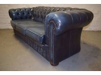 Antique blue chesterfield three seater sofa (DELIVERY AVAILABLE)
