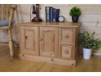 Beautiful rustic waxed solid pine tv unit, media cupboard, cabinet