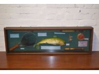 Glazed Display Of Fishing Items (DELIVERY AVAILABLE)