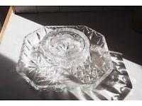 CRYSTAL GLASS TRAY AND A HEAVY CRYSTAL GLASS ASHTRAY