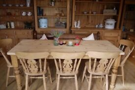 Farmhouse rustic large solid waxed pine table, chairs and pew 8 Seater table