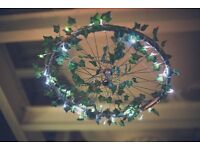 Wedding decorations, Bike wheel chandeliers, lighting, seating plan