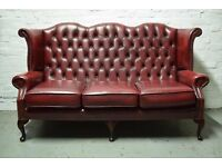 Antique red leather Chesterfield wing back 3 seater sofa (DELIVERY AVAILABLE)