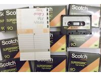 10 Scotch Superferric C90 cassettes - recorded once, now blank & ready to record