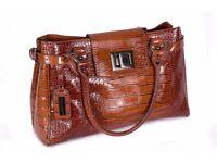 Large David Jones brown crocodile handbag