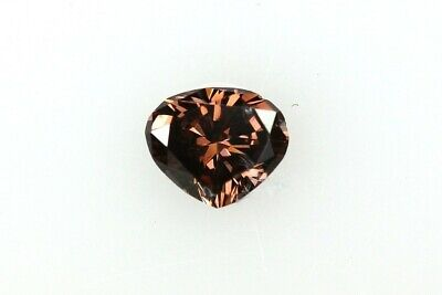 0.12 CT HEART FANCY DARK PINK-BROWN COLOR GIA CERTIFICATE LOOSE DIAMOND TAXFREE
