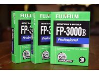 Fuji FP-3000B Professional Instant Camera Film | Black and White | 3x packs - 30 photos