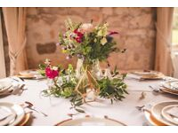 Gold and clear geometric vases / wedding